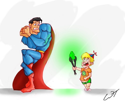 Superman vs A Clever Child with Kryptonite by Wesley
